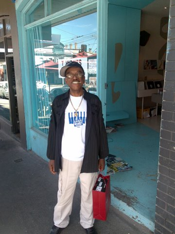 Syl Johnson outside Northside Records earlier this year.